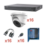KIT TurboHD 1080p / DVR 16 Canales / 16 Cámaras turret (exterior 2.8 mm) / Transceptores / Conectores / Fuente de Poder Profesio